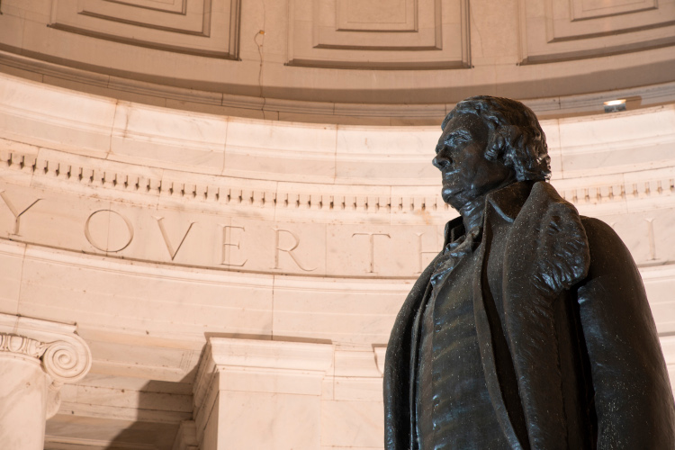 Thomas Jefferson statue in the Jefferson Memorial.