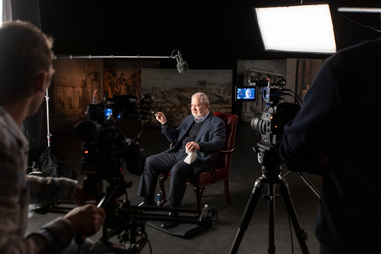 Larry Arnn during the filming of an online course.